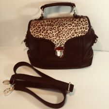 Adrienne Landau Black Vegan Faux Cheetah Print Satchel Purse Adjustable Strap
