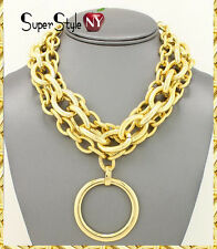 Layered Gold Multi Chunky Chain Necklace Ring Circle of Love Hoop Statement