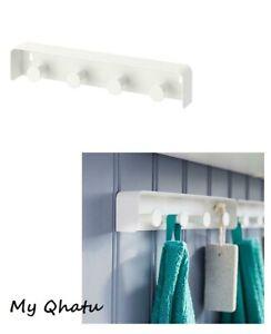 IKEA ENUDDEN Wall Hook Shelf WHITE Enamel 4 Hook Rail 11 inch 802.037.96