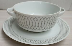 Arzberg Germany Fine Porcelain Delicate Patterned Soup Cup 2 Handled with Plate