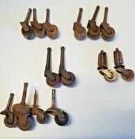 Lot of 14 Antique Wooden Wheeled Casters Wheels Mixed Lot 5878