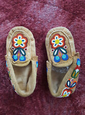 Vintage CANADIAN CREE INDIAN Beaded Moose Hide MOCCASSINS Slippers - Pre-worn