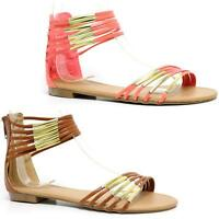 LADIES WEDGE SANDALS WOMEN LOW FLAT HEEL GLADIATOR FANCY SUMMER BEACH SHOES SIZE