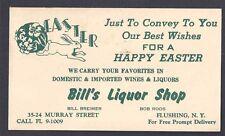1958 POSTAL CARD BILLS LIQUOR STORE FLUSHING NY HAPPY EASTER SALE