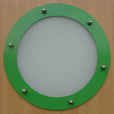 PORTHOLE FOR DOORS STAINLESS STEEL GREEN phi 230 mm flat