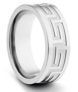 TungstenMasters 8MM/6MM Titanium Mens/Womens Greek Celtic Wedding Band Ring