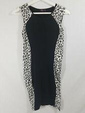 Ann Christine AC Cheetah Print White Black Pencil Dress Size S
