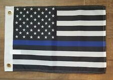 """Usa Thin Blue Line 12x18 12""""x18"""" Screen Printed Boat Flag Brass Grommets."""