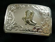 SILVER TONED FLORAL BACKGROUND BELT BUCKLE WITH WESTERN COWBOY DRESS BOOTS SPURS