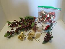 Lot Berry Sprays & Picks Red Gold Purple Clear Crafts