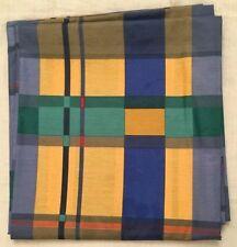 Scampolo Tessuto a quadri blu giallo verde arancio Cotone Stoffa cm 140 x 132