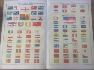 Vintage Antique 1939 Philips Map 20x15 Flags of All Nations British Empire +more