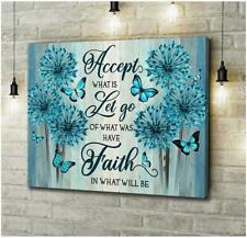 Blue Dandelion Butterfly Accept What Is Let Go Of What Was Have Canvas .75inch