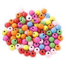 100Pcs 12mm Mixed Colour Round Wooden Beads for Jewellery Craft Kids Beading