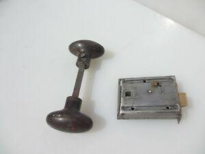 Antique Iron Bathroom Door Lock Bakelite Knobs Handles Oval Vintage Old Keep