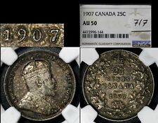 ELITE VARIETIES CANADA 25 cents - 1907 Repunched 7/7 - AU50 VERY RARE (a544)