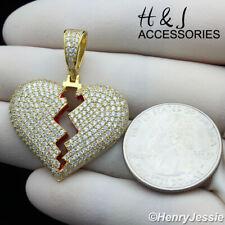 MEN WOMEN 925 STERLING SILVER LAB DIAMOND GOLD BROKEN HEART PENDANT*AGP246
