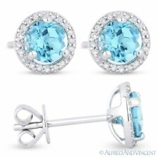 1.31 ct Round Cut Blue Topaz & Diamond Halo Martini Stud Earrings 14k White Gold