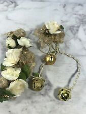 Christmas Wreath Accents Gold White Flowers Hanging Bells Home Holiday Decor 2pc