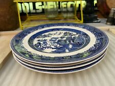 6 Vintage English Blue And White Willow Pattern Dinner Plates Johnson Bros