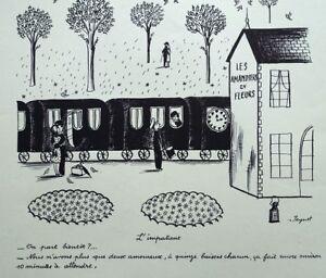 PEYNET Raymond : Le petit train - GRAVURE humoristique signée  #1943 #AMOUREUX