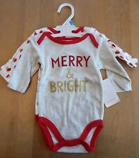 Modern Baby Christmas Merry + Bright Girl's Bodysuits Set of 2 3-6 Months