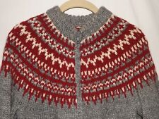 Vtg Hand Knit Icelandic Zip-Front Gray/Dk Red Thick Chunky Wool Cardigan Sweater
