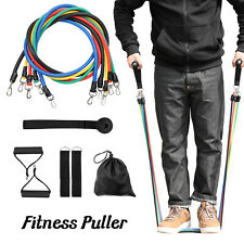 11PCS Yoga Resistance Tube Bands Set ABS Exercise Fitness Workout Pilates S5M9