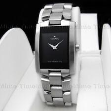 Men's Movado ELIRO Black Dial Rectangular Stainless Swiss Quartz Watch 0604132