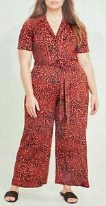 NEW ex Evans Curve Plus Size Animal Print Jersey Red Black Tie Up Jumpsuit 14-28