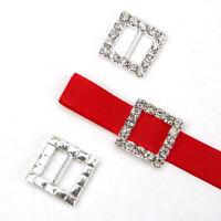 50pcs  Square Rhinestone Diamante Buckle Ribbon Slider Wedding Decoration Gift