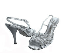 NINA WOMENS LEATHER SILVER METAL STRAPPY SANDALS DRESS SLINGBACK HEELS SHOES 10M