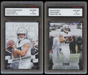 JUSTIN HERBERT 2020 LEAF DRAFT/PRIZED 1ST GRADED 10 ROOKIE CARD 2 LOT CHARGERS