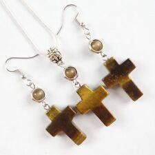 Tiger Eye Gem Cross & Tibetan Silver Necklace & Earring Set JC520