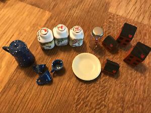 LOT Dollhouse Miniature Glass Jars Mug Candy cane Wood Houses crafts tea cups