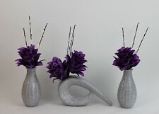 ARTIFICIAL (SET OF 3) SILK PURPLE FLOWERS IN SILVER GLITTER VASES,Updated Design