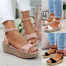 21d1d25eff3b New Womens Platform Sandals Espadrille Ankle Strap Comfy Summer Shoes Sizes  3-8