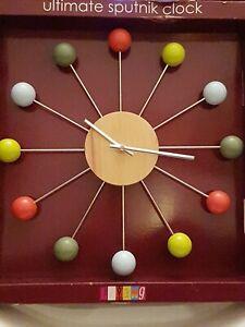 Sputnik Clock Retro Style Wood & Metal Sun Burst Style Clock