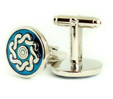 Celtic Cufflinks Blue Silver Circular Round Pair Mens Cuff Links