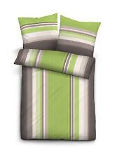 Fein Biber Baumwolle Bettwäsche 2 tlg 135x200 RV Streifen grau grün wei�Ÿ