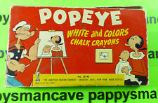 Vintage 1953~Popeye~ White and Colors Chalk Crayons American Crayon Co.Usa~Mcm