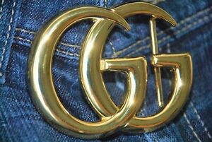 Authentic Large GUCCI Marmont GG Shiny Gold Belt Buckle Accessory Italy