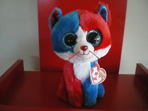 Ty Beanie Boos FIRECRACKER the cat 6 inch NWMT. 4th July Exclusive.