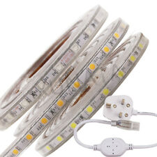 LED Strip 220V 240V 5050 SMD IP67 Waterproof tape Lights Rope White Blue UK plug