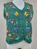 Margules Vintage 1980s Cottagecore Grandmacore Floral Sweater Vest Size Large