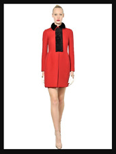 VALENTINO Women's Red Mink Astrakhan Wool Techno Couture Coat Sz. Small 4-6+Gift
