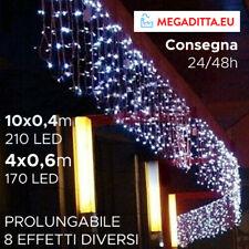 Luci Natale Esterno Tenda Natalizia 10X0,4m 6X0,6m 210/170 led Multieffetto IP44