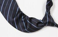 Ralph Lauren Purple Label Navy w/ Sky Blue Striped Silk Handmade Necktie Tie