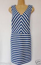 NEXT BNWT ladie blue white nautical stripe shift party cut out back ocassion 18