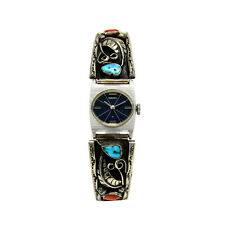 and Coral Seiko Quartz Watch Sterling Silver Native American Turquoise
